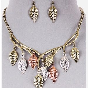 Matching Necklace and Earrings.  Fall Leaves